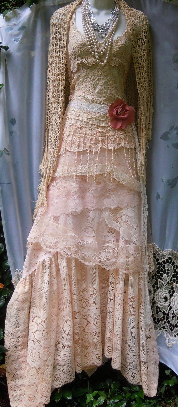Cream wedding dress boho  mermaid crochet lace by vintageopulence, $525.00