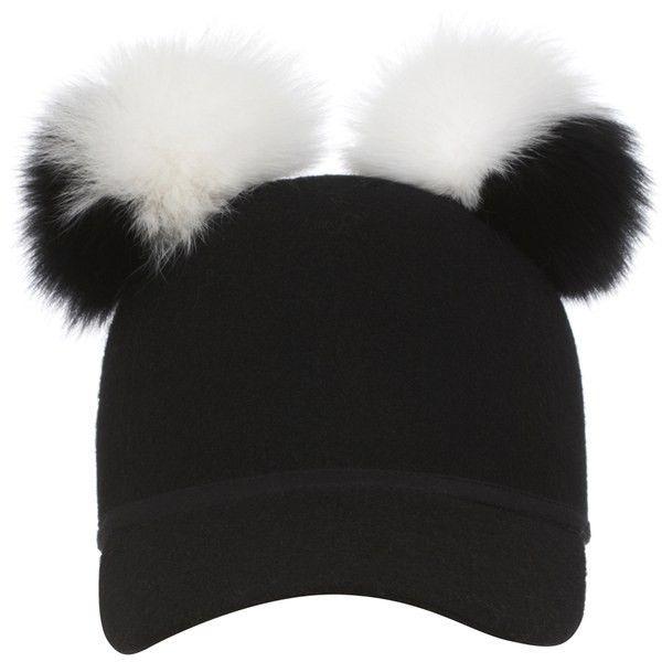 25475d24294 ... bobble hat 96465 54280 switzerland baseball cap charlotte simone womens  double pom pom sass cap black white featuring polyvore womens ...