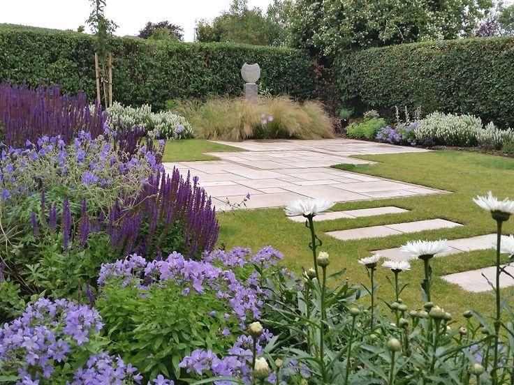 #gardendesign #staffordshire #cheshire #shropshire #paving #path #gardensculpture #plants #boxballs #englishgarden #plantcombinations #plantingdesign