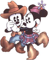 Classic Mickey & Minnie doing the country square dance.