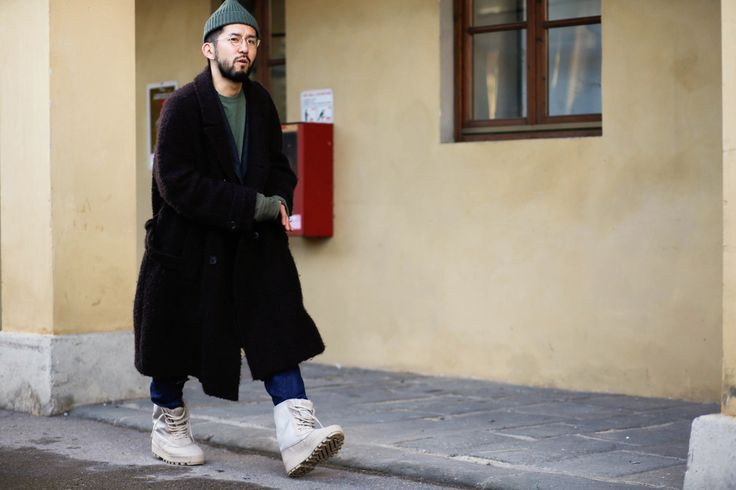 hypebeast:   Streetsnaps: Pitti Uomo 89 - Part 3 Tweeds and Yeezy duck boots at a rainy Pitti.