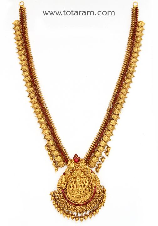 22K Gold 'Lakshmi Kasu' Long Necklace (Temple Jewellery)