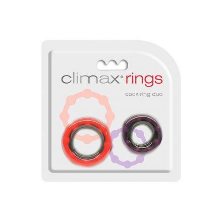 DUO D'ANNEAUX D'ÉRECTION CLIMAX AVEC BILLES. Augmente les sensations et est compatible avec les condoms. Deux tailles pour un ajustement facile et confortable. Ils sont 100% impermeable a l'eau et fabriqué en latex sans phtalate et en plastique ABS. Offert par la boutique érotique (sex shop) La Clé du Plaisir.
