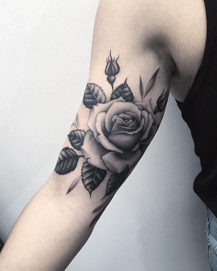 Rose flower sleeve tattoo by lazerliz