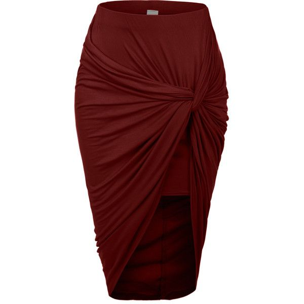 LE3NO Womens Asymmetrical Banded Waist Wrap Cut Out Hi Low Skirt ($45) ❤ liked on Polyvore featuring skirts, bottoms, long summer skirts, asymmetrical wrap maxi skirt, hi low skirt, red skirt and long skirts