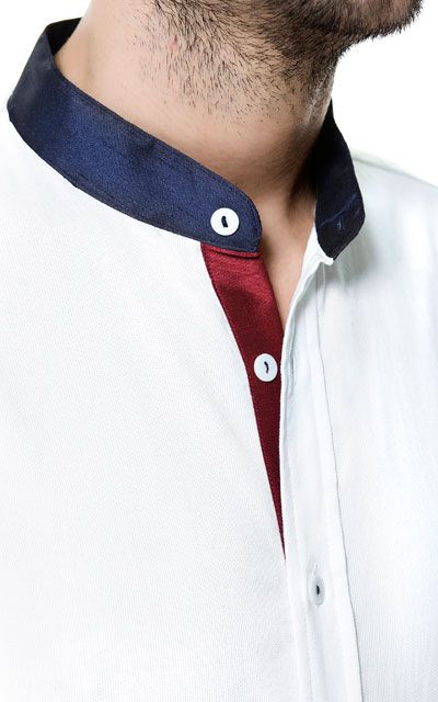 SHIRT WITH MAO COLLAR AND CONTRAST DETAILING - Man - New this week - ZARA Egypt