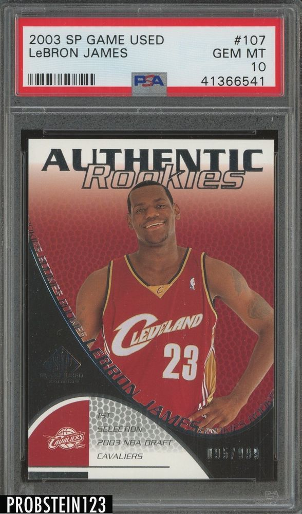 6db76eb310b4 2003-04 SP Game Used LeBron James Cleveland Cavaliers RC Rookie  999 PSA 10   LeBronJames  PSA10  sportscards