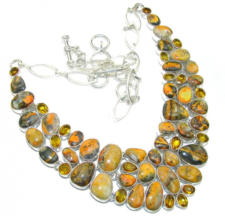 | Bumble Bee Jasper & Citrine Silver Necklace : Bumble Bee Silver Jewelry