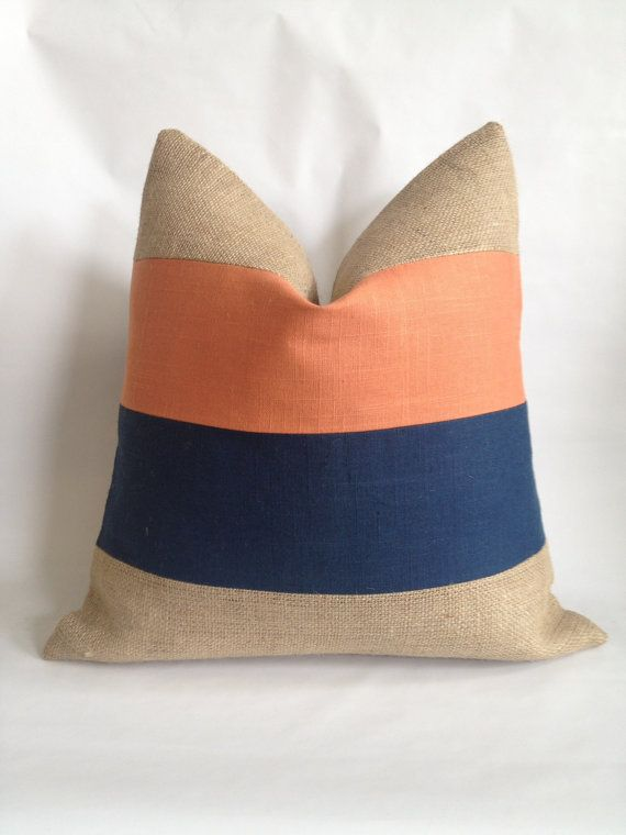 Burnt Orange and Navy Linen/Cotton Fabric and by BouteilleChic, $32.00