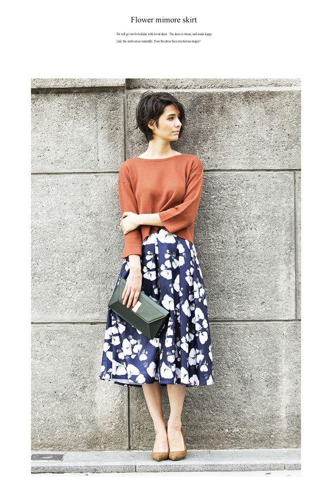 【楽天市場】【Flower mimore skirt】レディース 花柄 フレア スカート:nostalgia