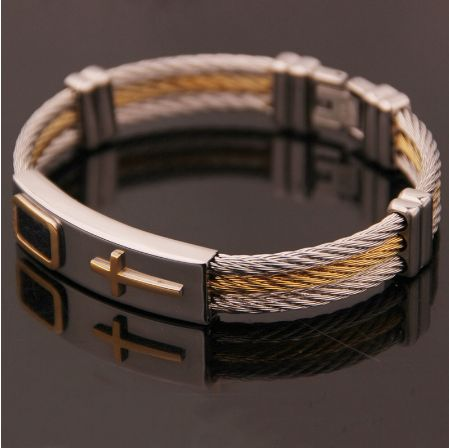 2017 Premium Gold Stainless Steel Cross Bracelet