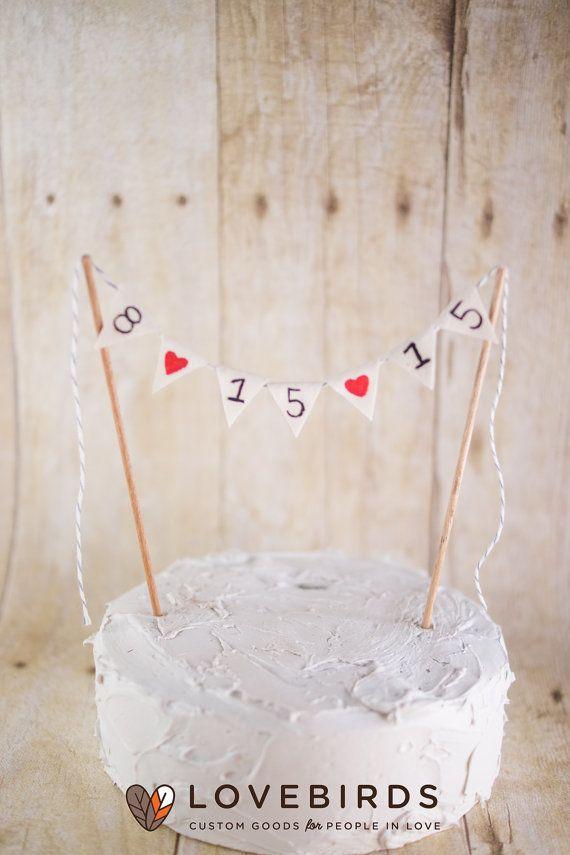 Bunting Date Cake Banner  bunting cake topper by LovebirdsGoods