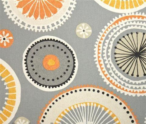 Orange And Grey Curtain Fabric Abstract For Teenagers
