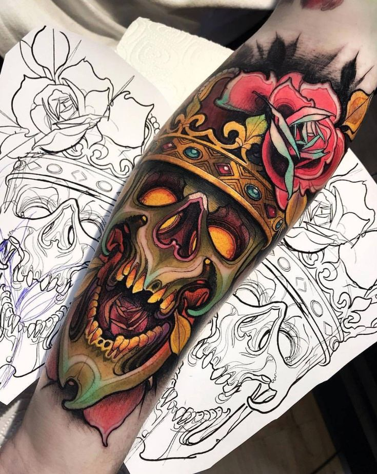 Amazing colored skull tattoo with detailed shading done by