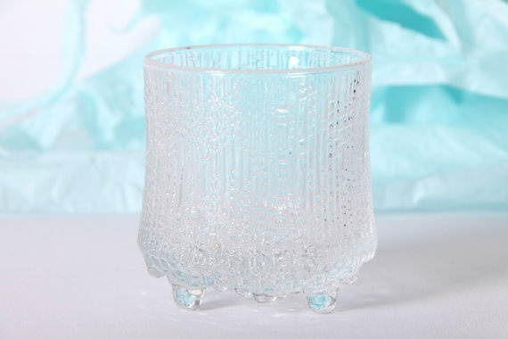 Vintage Iittala Glass Ultima Thule Tapio Wirkkala Finland Lowball Tumbler Scandinavian Ice Design 60's Retro