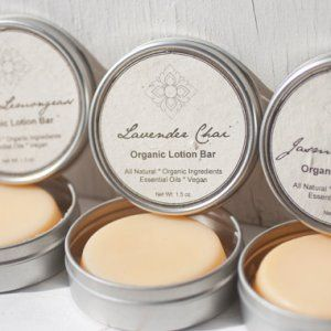 Handmade, organic, vegan lotion bar 1.5oz bar Lotion without chemicals, water, or alcohol Packaged in reusable tin