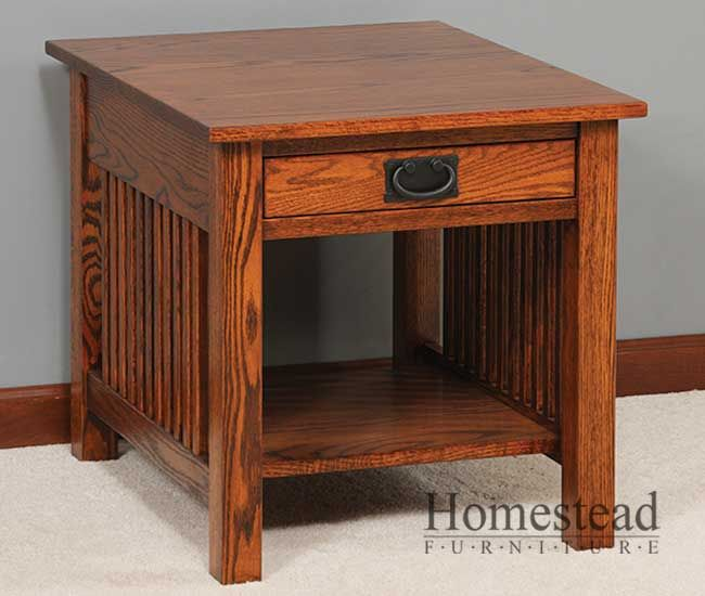 craftsman end table | Mission Slat End Table by Homestead Furniture made in Amish Country.