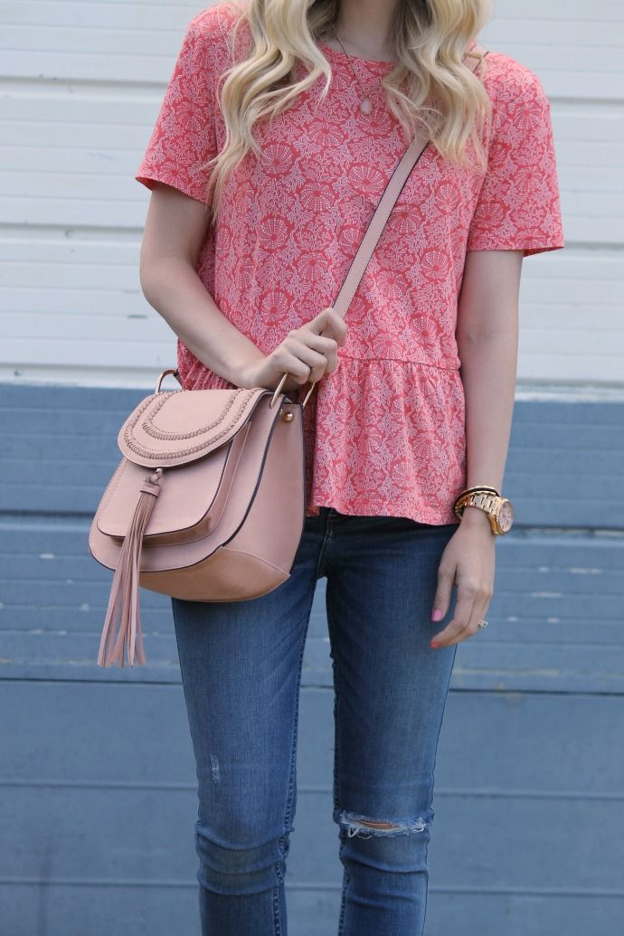 S T R I P E S . I N . B L O O M: .classic pieces gone girly. peplum top, knit/cotton tee, distressed Abercrombie denim, pink sandals, blush pink, tassel bag, suede bag, trendy summer style, old navy top, stripes in bloom blog