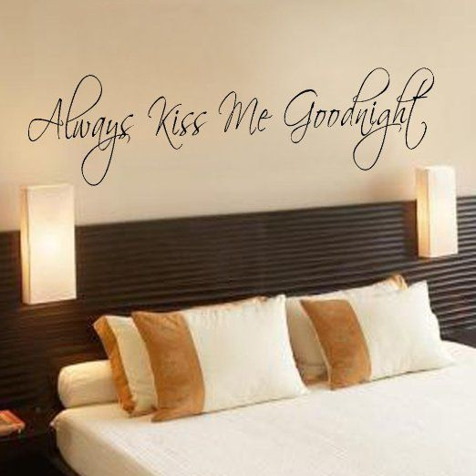 Always Kiss Me Goodnight Wall Decal Bedroom Decor Wall Decal Love Wall Decal Vinyl Lettering(Black, Large)