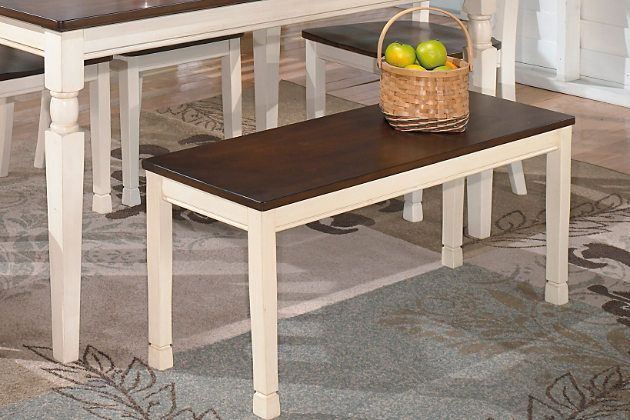 Brown & White Whitesburg Dining Room Bench by Ashley HomeStore