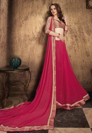 Printed Georgette Saree in Fuchsia