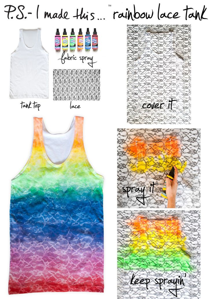 Rainbow Lace Tank  #DIY #PSIMADETHIS: Diy Rainbows, Diy Crafts, Color, Ties Dyes, Diy Clothing, Lace Tanks Tops, Rainbows Lace, Dreams Coming True, Lace Patterns
