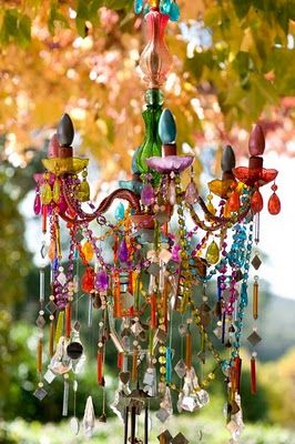 """Site owner wrote: I love the exuberance of this multi-colored chandelier. And using it as an outdoor fixture is brilliant. If this were my patio, I would spend the whole summer out there."""" Ditto."""