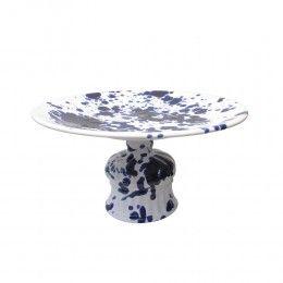 Taartplateau Splash modern Delfts Blauw aardewerk