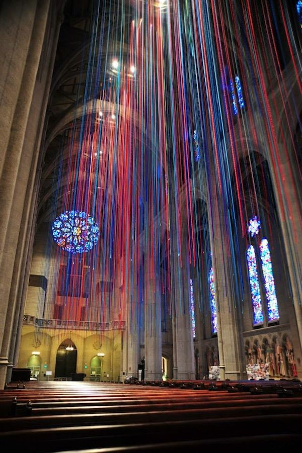 20 Miles of Stained Glass Colored Ribbon Hang Inside a SF Cathedral