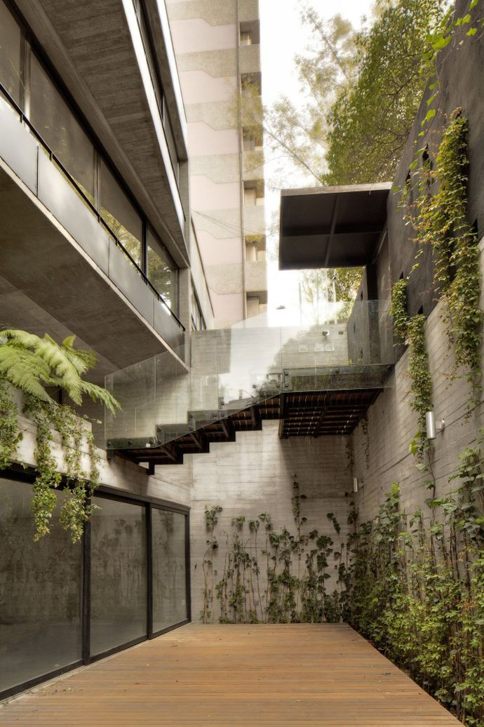 Beautiful Apartment Building: CB71 / La Proyectería  Designed by La Proyectería, this apartment building is located at west of México City, at the district of Polanco, the building is divided in two blocks organized around a central courtyard.