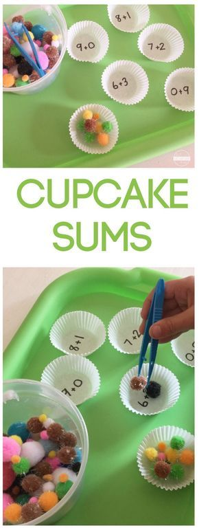 Cupcake Sums - FUN, hands on math game to help preschool, prek, kindergarten, and first grade students practice addition with hands on manipulatives
