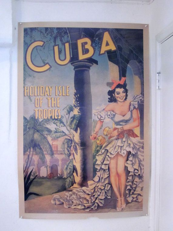 Large Travel Poster - Cuba Holiday Isle of the Tropics - Reproduction 1949 Cuba Tourism