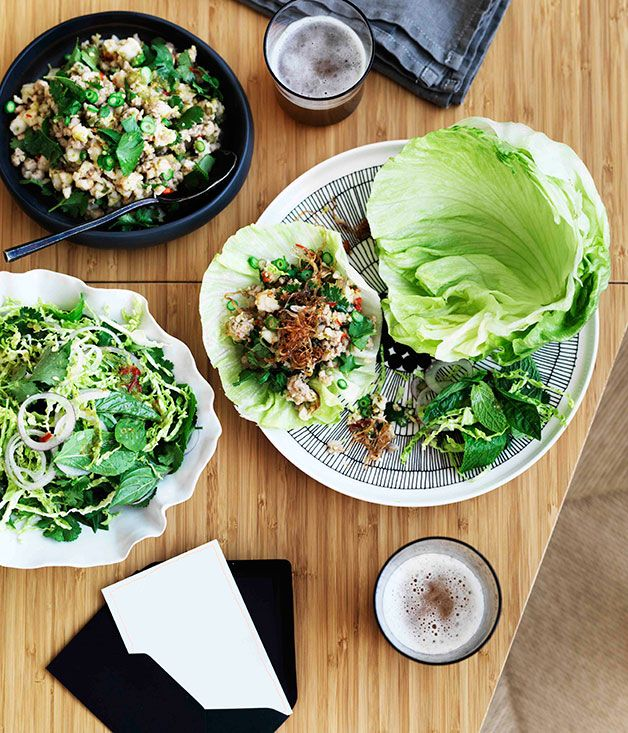 Prawn and pork larb with fragrant Savoy cabbage salad
