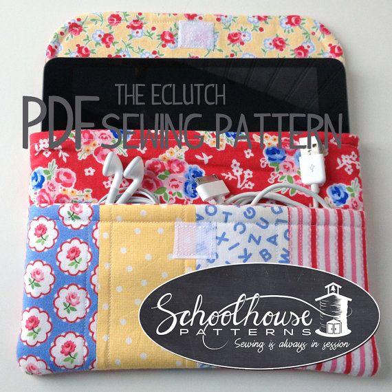 eclutch sewing pattern sleeve case with par SchoolhousePatterns