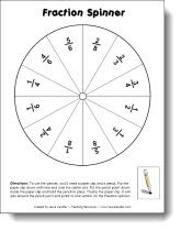 Fraction Spinner from Laura Candler - great for math centers - can be used for adding or subtracting fractions with different denominators