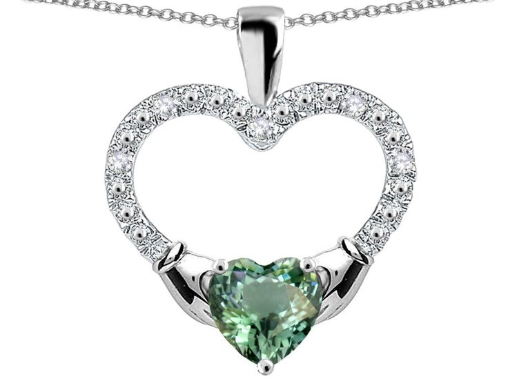 Star K Hands Holding Heart Simulated Green Sapphire Claddagh Pendant Necklace