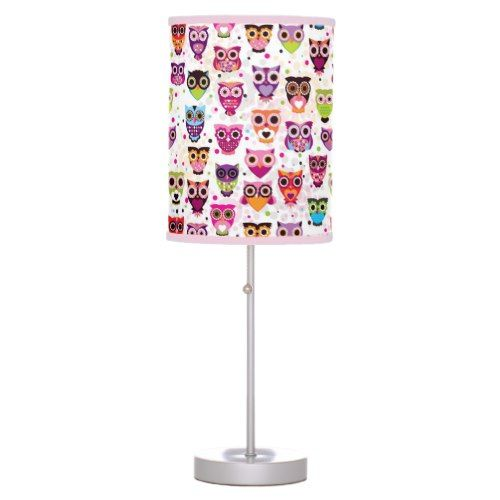 Cute owl background pattern for kids desk lamp