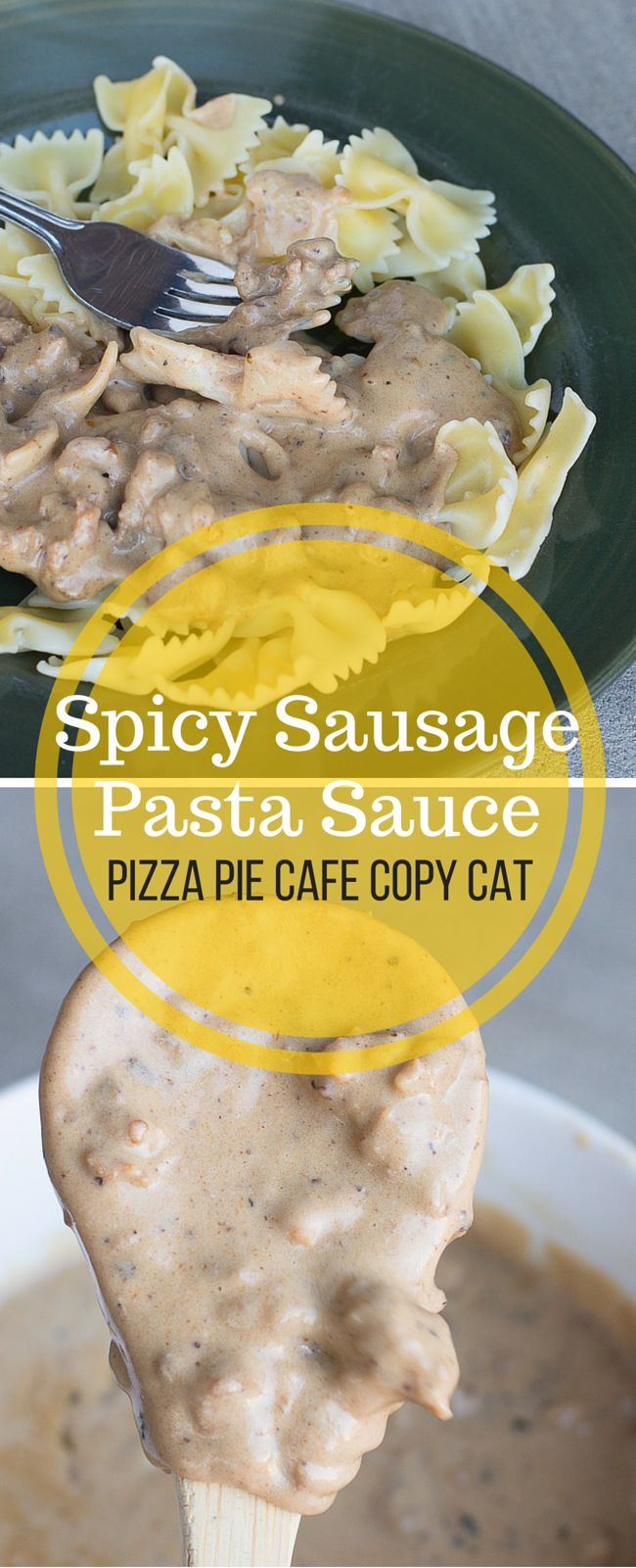 Spicy Sausage Pasta Sauce - Pizza Pie Cafe Copy Cat. So good over farfalle!