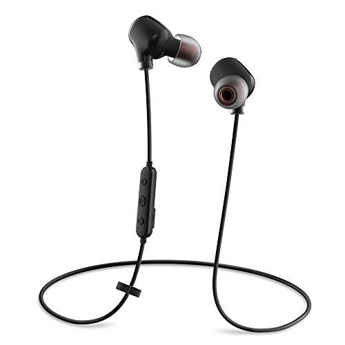 Cheap Wireless Headset Bovon Lightweight Bluetooth 4.1 Headphones HD Stereo Sweatproof Wireless Earphones In-Ear Noise Cancelling Earbuds Built-in Mic Secure Fit for Gym Running Workout (Black) Best Selling