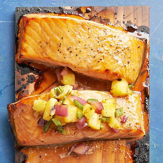 No matter how you cook salmon -- baked, grilled, planked, or poached -- flaky salmon recipes are delicious nutrition powerhouses packed with protein and essential omega-3 oils. Find healthy and new ways to dress up the fork-t