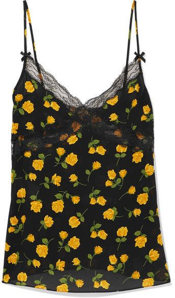 113c9623c0b77 Lace-trimmed Floral-print Silk-crepe Camisole - Yellow  silk love crepe