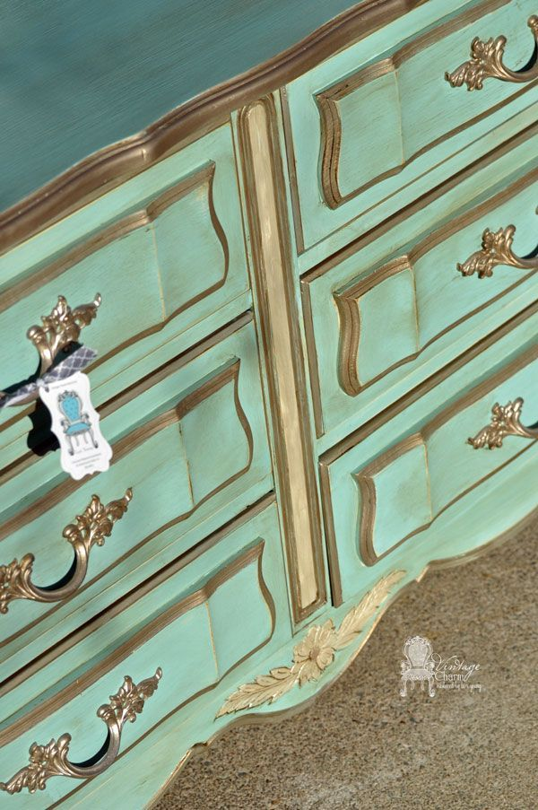 Dixie French Provincial Dresser Makeover done with American Paint Company's clay/chalk/mineral paint