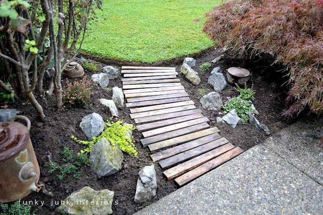 Pallet garden walkway. garden path walkway pallet wood rocks
