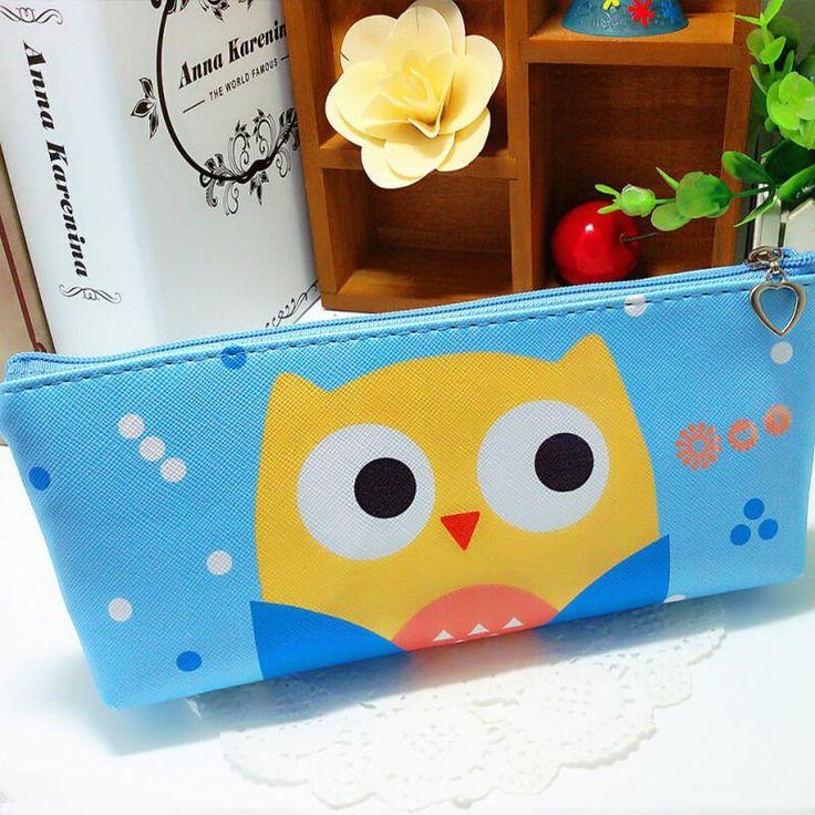 Sweet Owl Pencil Case (Blue) #Blue #Leather #Pencil-Case