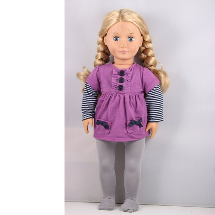 4.99$  Buy here - http://aliicj.shopchina.info/go.php?t=32782361601 -  45cm Baby Born Doll Purple Long Sleeve Dress +Grey Leggings American Girl Doll Clothes /Dress Children Best Chrismas Gift AG651  #aliexpress