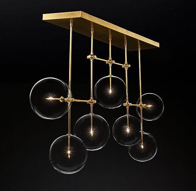 """Glass Globe Mobile Linear Chandelier 72"""""""