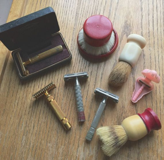 5 Vintage Shaving Razors and 3 Shaving Lather by LeftoverStuff