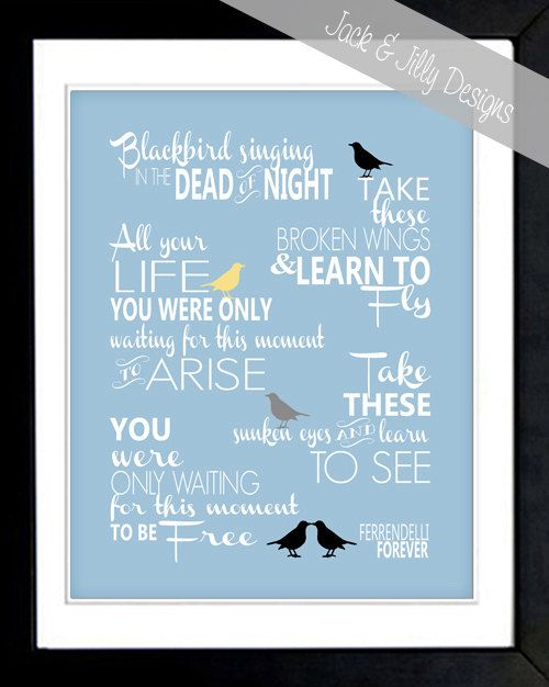 84 best lyrics images on pinterest song lyrics lyrics and music beatles blackbird song lyrics print 8x10 you choose the custom colours to perfectly match stopboris Gallery