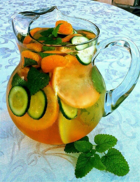 One grapefruit, one tangerine, 1/2 cucumber, and mint leaves: slice and put in a pitcher with water!