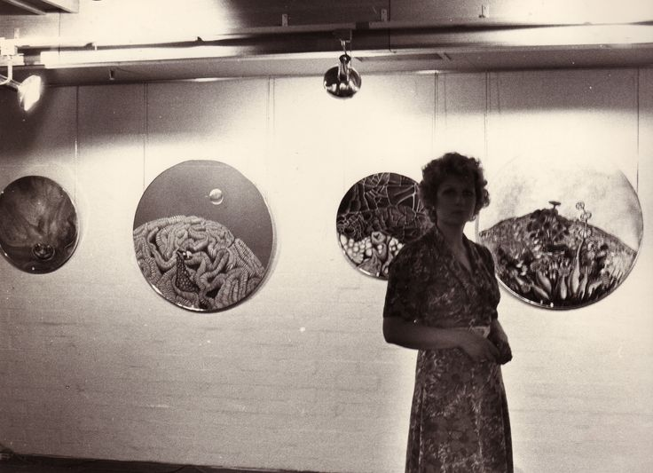 Sylvia Convey with her paintings Canberra Theatre Centre Gallery 1976.